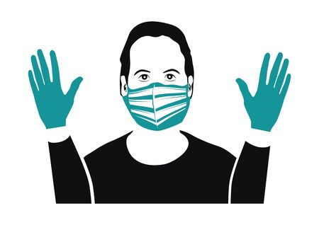 A man wearing a protective mask and gloves. The concept of virus protection. Vector.
