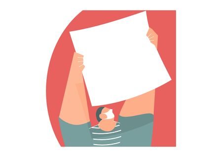 A man in a protective mask holding a large sheet of paper. Flat vector design with copy space.