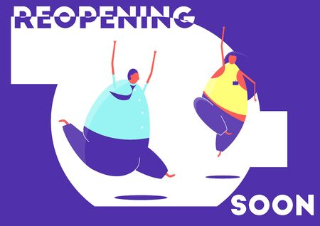Reopening soon. Reopening concept with two dancing people. Flat vector design.