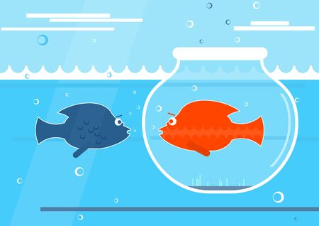 Social distancing concept. Fish in an aquarium jar immersed in the sea and separated from other fish. Flat vector design. Иллюстрация