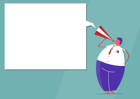 Man with megaphone and speech bubble with copy space. Flat vector design. Vectores