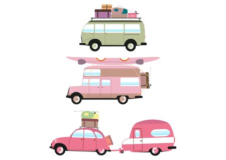 Set of three simplified campers on a white background. Flat vector.