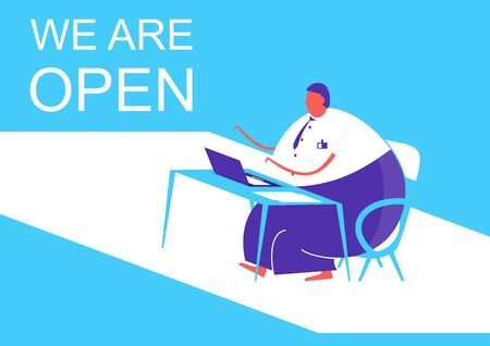 We are open. A man sitting at a desk with a computer. Flat vector design.