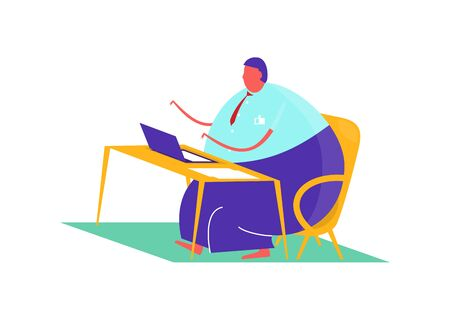 Man sitting at a desk with a computer. Flat vector design. Vectores