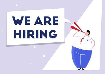 We are hiring. Job vacancy announcement. Simplistic flat vector illustration.