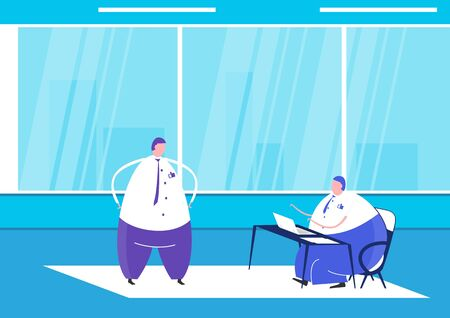 People in the office. An employee sitting at the desk and a manager standing next to it. Side view. Flat design vector illustration.