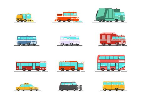 Isolated set of simplified public service vehicles. Vector flat graphic design. Stock Illustratie