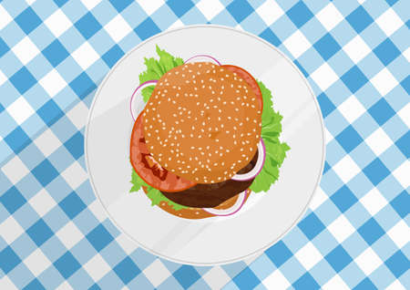 Burger with lettuce, onion and tomatoes on a plate. Top down view. Flat vector.