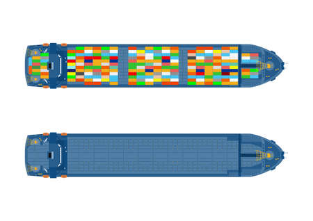 Top view of the container ship. Empty and loaded ship on a white background. Vector.