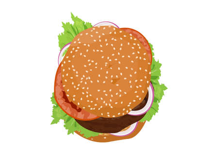 Burger with lettuce, onion, and tomatoes. Top down view. Flat vector.