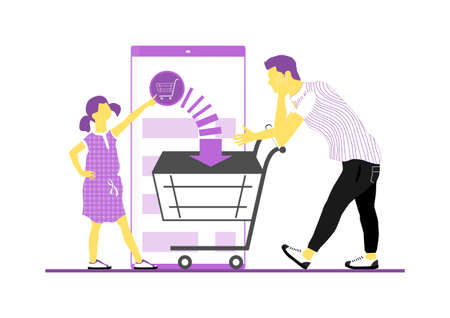 Shopping with smartphone app. Father with his daughter when shopping online. Limited color flat vector illustration. Vectores