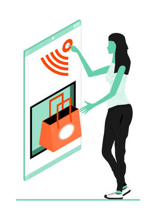 Online shopping concept. Woman shopping using a smartphone. Limited color flat vector illustration. Vectores