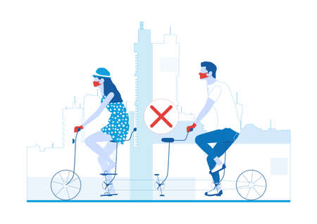 Social distancing on transport. Two people riding a three-seater tandem with an empty space between them. Limited color flat vector illustration. Vectores
