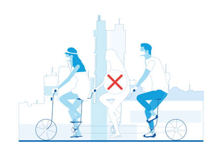 Social distancing on transport. People riding a three-seater tandem. Limited color flat vector illustration. Vectores