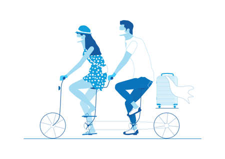 Traveling during a pandemic. Two people wearing masks and protective gloves, riding a tandem. Limited color flat vector illustration.