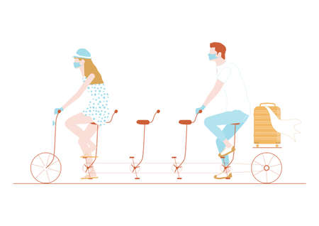 Two people in protective masks riding a tandem with empty spaces between them. Flat vector illustration with muted colors. Vectores