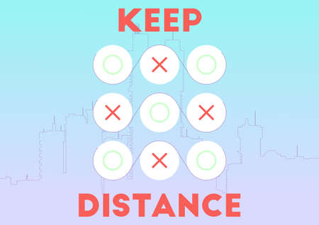 Keep distance. Tic-tac-toe play as a concept of social distance. Raster.