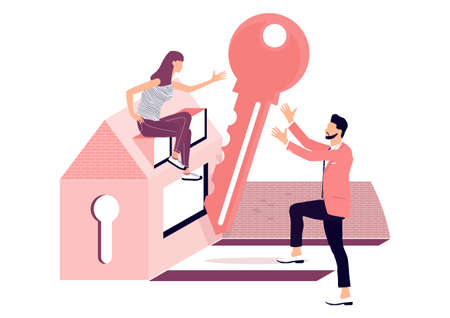 New house owners. Limited color illustration with the concept of buying a new home. Flat vector. Vectores