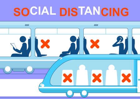 Social distancing concept in public transport. Flat vector illustration. Vettoriali