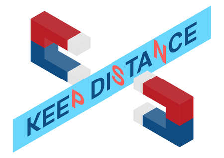 Keep distance. Physical distancing concept with magnets. Flat vector.