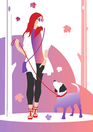 Walking the dog in the fall. A woman in a mask walking among the trees with her dog. Flat raster illustration. Foto de archivo