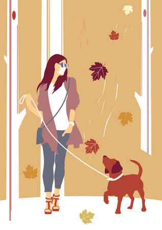 Walking the dog in the fall. A woman in a mask walking among the trees with her dog. Flat vector illustration.