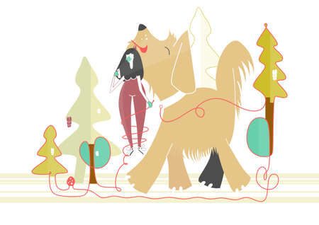 Walking the dog in the fall. A girl in a protective mask with her dog during a walk in the park. Flat vector illustration.