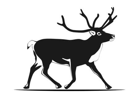 Reindeer silhouette. Two easy-to-change colors. Flat vector.