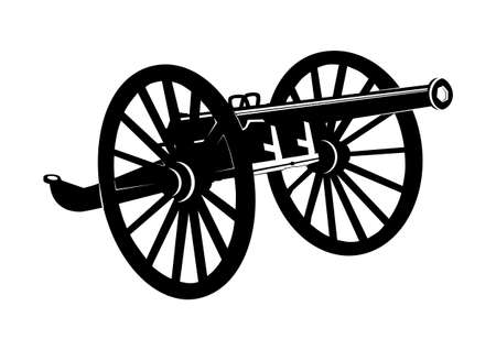 Obsolete cannon. Silhouette of an old cannon on wooden wheels. Flat vector. Vectores