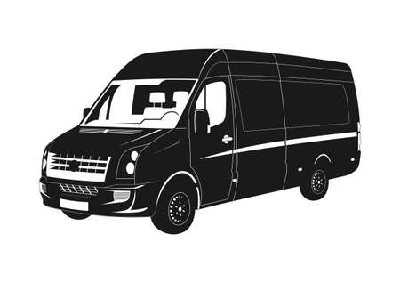 Modern van silhouette. Black and white silhouette of the truck. Flat vector.