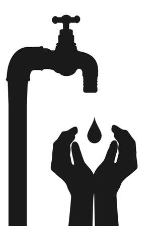 Save water. Hands protecting the tap drop. Flat vector. Vectores