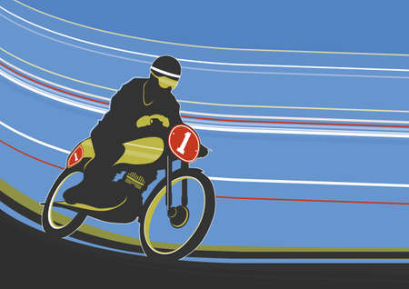 Motorcyclist on the track. Simplified illustration of a speeding vintage motorcycle. Flat vector.
