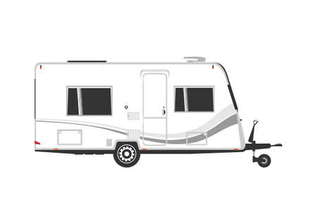 Side view of modern caravan. A simplified caravan on a white background. Flat vector. Vektorgrafik