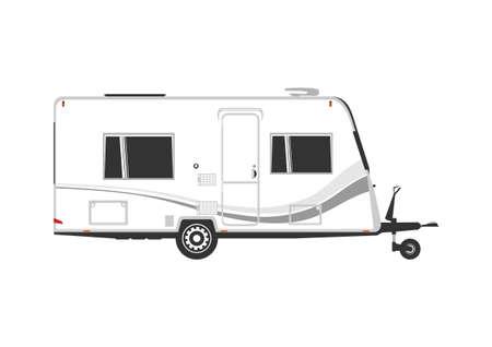 Side view of modern caravan. A simplified caravan on a white background. Flat vector. Vetores