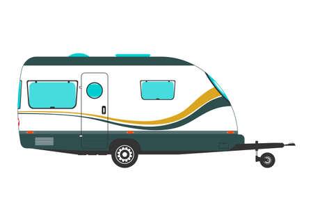 Side view of modern caravan. A simplified caravan on a white background. Flat vector.