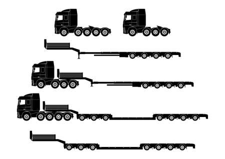 Heavy and oversized transportation. Oversize load transport silhouettes of trucks and trailers. Side view. Flat vector.