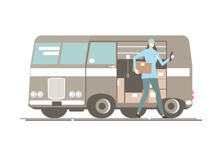 Courier delivering the package. Female courier in a protective mask with a package next to a delivery truck. Flat vector. No gradients. One layer.