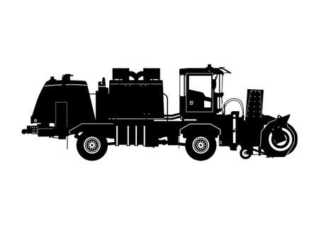 Snow blower silhouette. Truck mounted high speed snow blower. Side view. Flat vector.