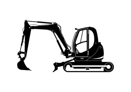 Compact excavator silhouette. Tracked mini excavator. Side view. Flat vector. Vetores