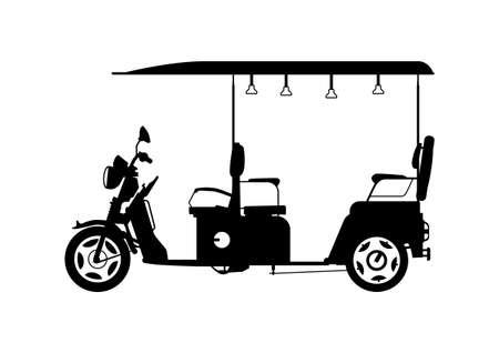 Auto rickshaw. Silhouette of a three-wheeled motorbike. Side view. Flat vector.