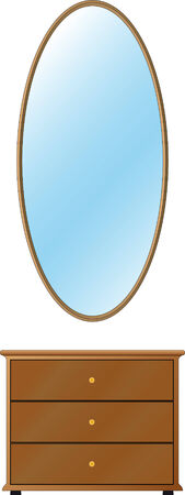 wall mirror: Wall mirror with bedside-table. Easy to modify