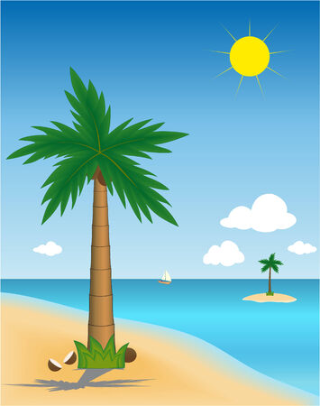 Beautiful  tropical landscape with palms on islands Stock Vector - 3504300