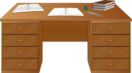 study desk: Books on the table