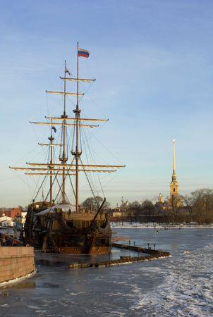 neva: Ship-restaurant on the river Neva Stock Photo