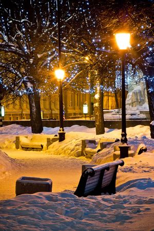 Benches and lamps at winter night in St.Petersburg photo