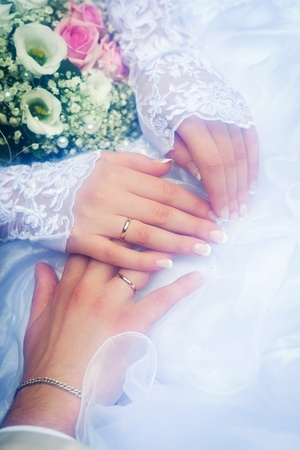 Couple hands on wedding, symbolize forever togetherness and marriage photo