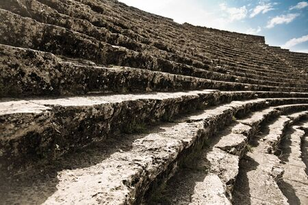 ruined: Stage of ancient ruined theatre in Hierapolis in Turkey