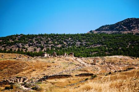 hierapolis: Ruins of ancient Hierapolis, Pamukkale, Turkey Stock Photo