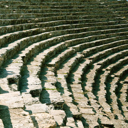 hierapolis: Stage of ancient ruined theatre in Hierapolis in Turkey