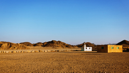 bedouin: Bedouin village in desert in mountains in sunset, Egypt